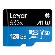 کارت حافظه microSDHC لکسار مدل 633X همراه با آداپتور SD ظرفیت 128 گیگابایت